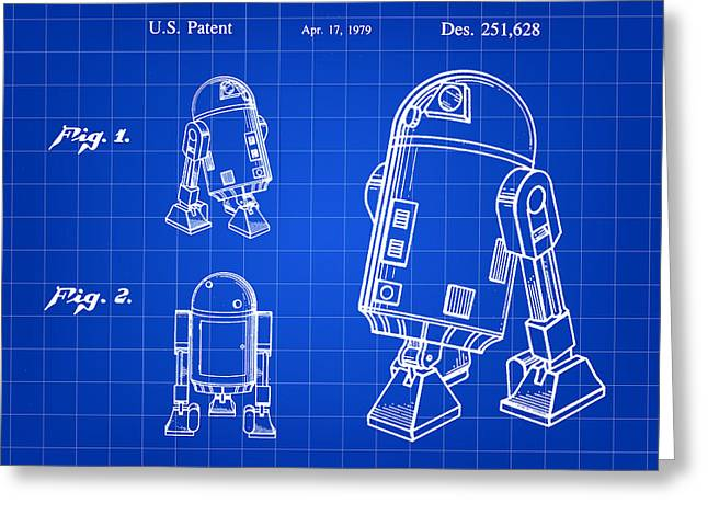 Galactic Empire Greeting Cards - Star Wars R2-D2 Patent 1979 - Blue Greeting Card by Stephen Younts