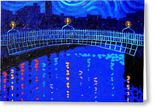 Bridge Greeting Cards Greeting Cards - Starry Night In Dublin Greeting Card by John  Nolan