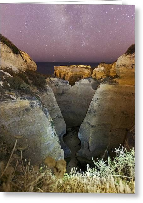 Mediterranean Landscape Greeting Cards - Starry Sky at Praia do Castelo Greeting Card by Andre Goncalves