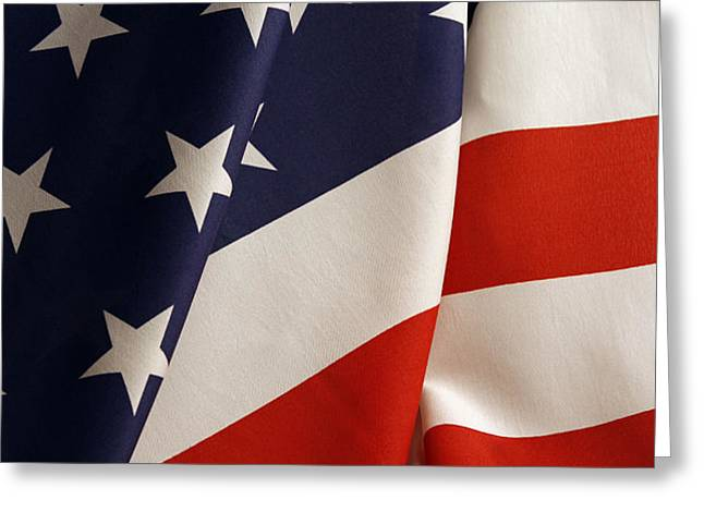 Stars and stripes Greeting Card by Les Cunliffe