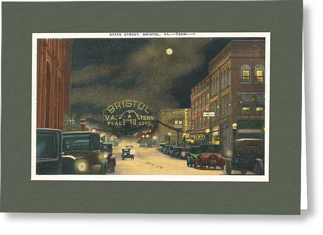 State Street Bristol Va Tn 1920's - 30's Greeting Card by Denise Beverly