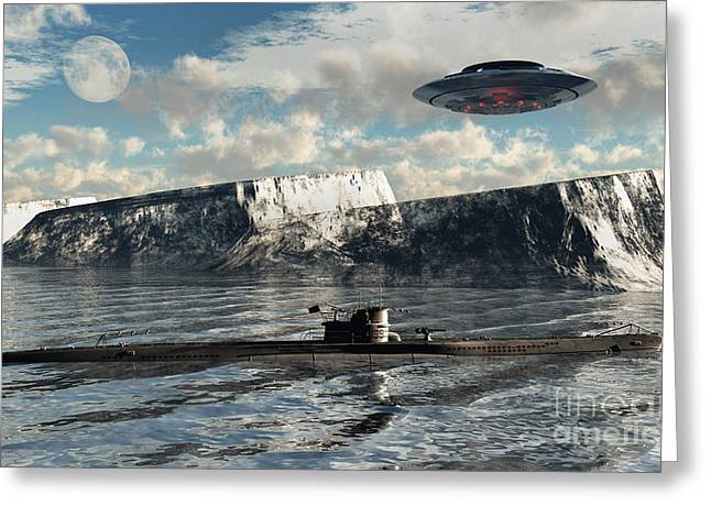 211 Greeting Cards - Station 211 Is A Nazialien Secret Base Greeting Card by Mark Stevenson