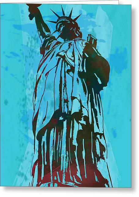 Statue Of Liberty Mixed Media Greeting Cards - Statue Liberty - pop stylised art poster Greeting Card by Kim Wang
