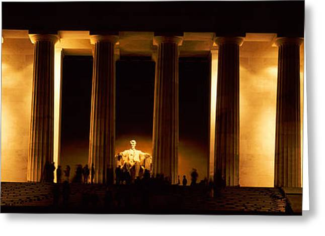 Neo Greeting Cards - Statue Of Abraham Lincoln Greeting Card by Panoramic Images