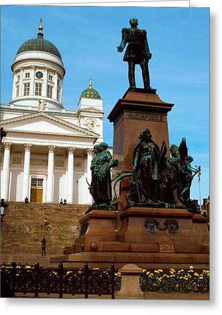 Neo Greeting Cards - Statue Of Alexander Ii In Front Greeting Card by Panoramic Images