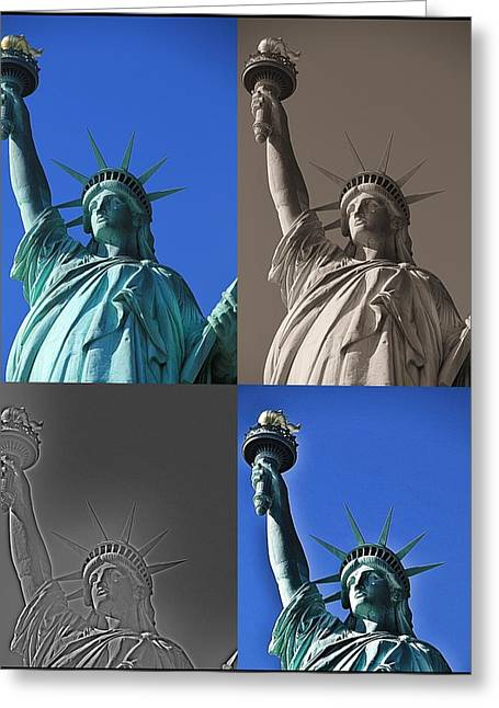 Historic Statue Digital Art Greeting Cards - Statue Of Liberty Greeting Card by Dan Sproul
