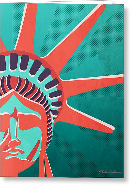 Statue Of Liberty Mixed Media Greeting Cards - Statue Of Liberty  Greeting Card by Mark Ashkenazi