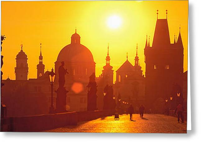Mediterranean Series Greeting Cards - Statues Along A Bridge, Charles Bridge Greeting Card by Panoramic Images