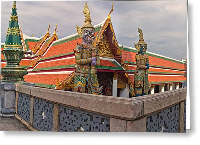 Design And Photography. Greeting Cards - Statues At A Temple, Wat Phra Kaeo Greeting Card by Panoramic Images
