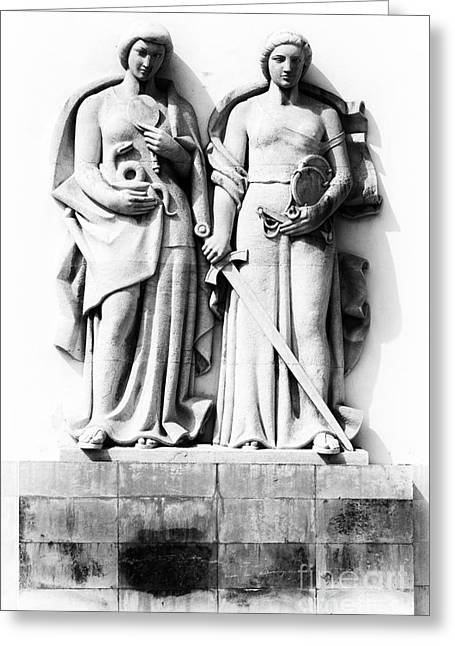 Court Of Law Greeting Cards - Statues in the facade of the Tribunal Greeting Card by Jose Elias - Sofia Pereira