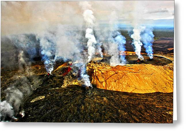 Craters Greeting Cards - Steam Erupting From A Volcano, Kilauea Greeting Card by Panoramic Images