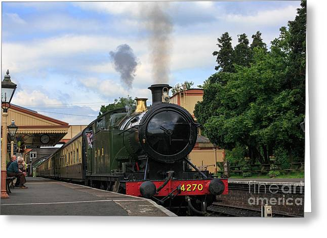 Steam Locomotive 4270 Arrives At Toddington Station Greeting Card by Louise Heusinkveld