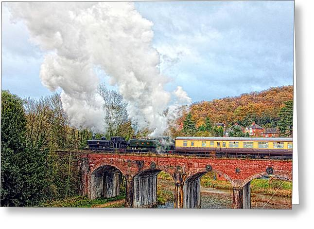 Coalbrookdale Greeting Cards - Steam Locos on Coalbrookdale Viaduct Greeting Card by Paul Williams