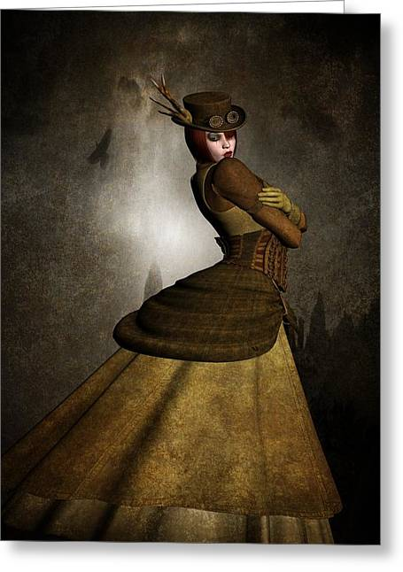 Industrial Background Mixed Media Greeting Cards - Steam Punk Woman Greeting Card by Todd and candice Dailey