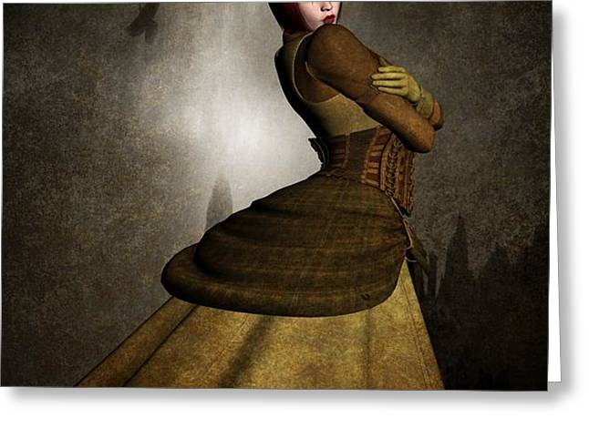 Steam Punk Woman Greeting Card by Todd and candice Dailey