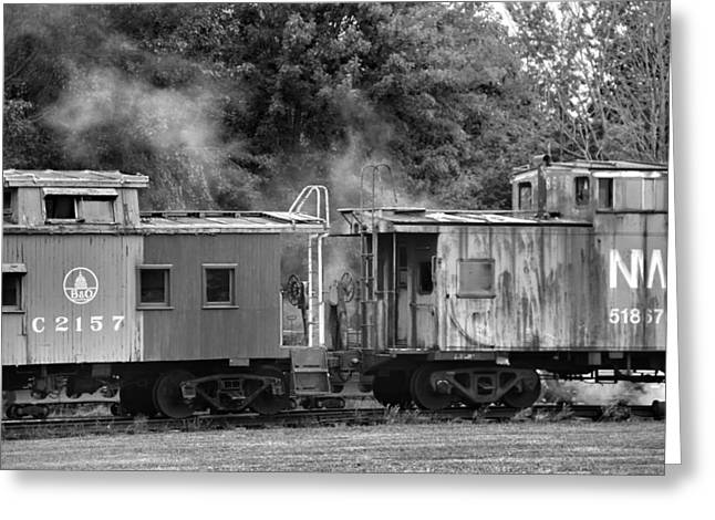 Old Caboose Greeting Cards - Steam Train Greeting Card by Dan Sproul