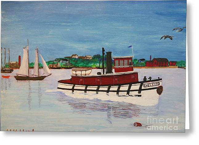 Historic Schooner Drawings Greeting Cards - Steam Tug Eveleth Greeting Card by Bill Hubbard