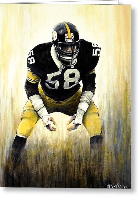 American Football Paintings Greeting Cards - Steel Curtain Greeting Card by William Walts