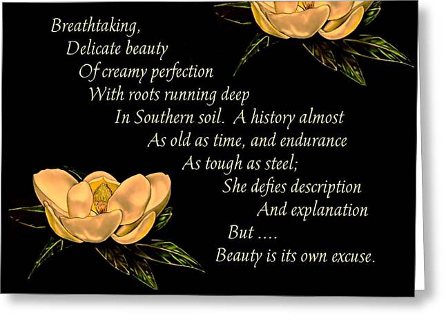 Neely Greeting Cards - Steel Magnolia - Poetry Greeting Card by Patricia Neely-Dorsey