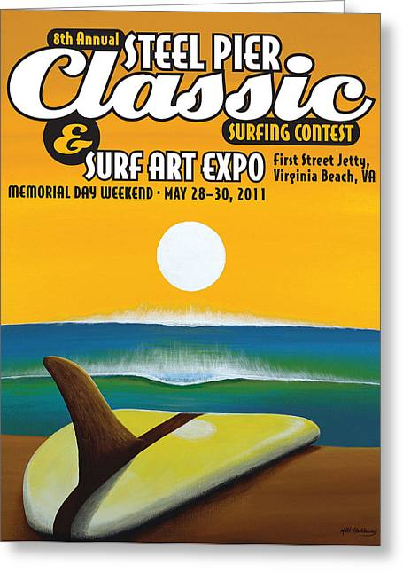 Surfing Art Greeting Cards - Steel Pier Classic Surf Contest Poster 2011 Greeting Card by Matthew Haddaway