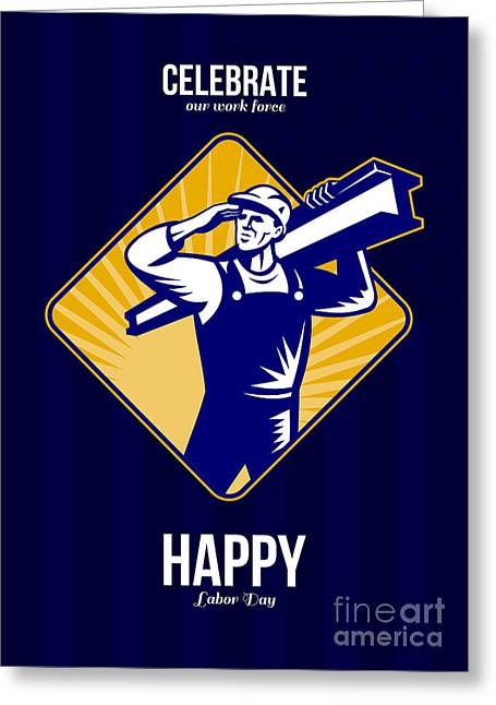 Steel Greeting Cards Greeting Cards - Steel Worker I-Beam Girder Ride Retro Greeting Card by Aloysius Patrimonio