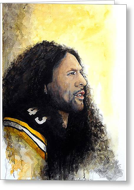 Pro Football Paintings Greeting Cards - Steeler Pride Greeting Card by William Walts