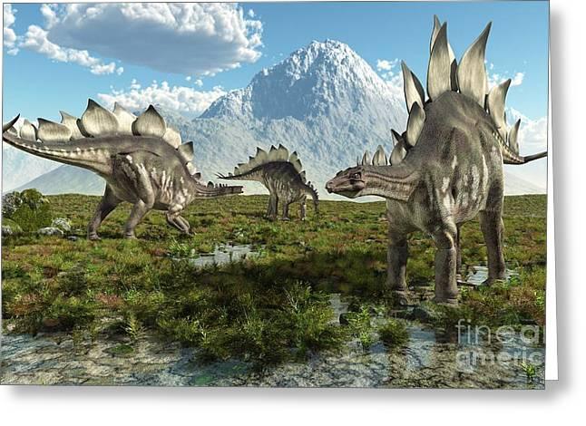 Stegosaurus Greeting Cards - Stegosaurus Dinosaurs, Artwork Greeting Card by Roger Harris