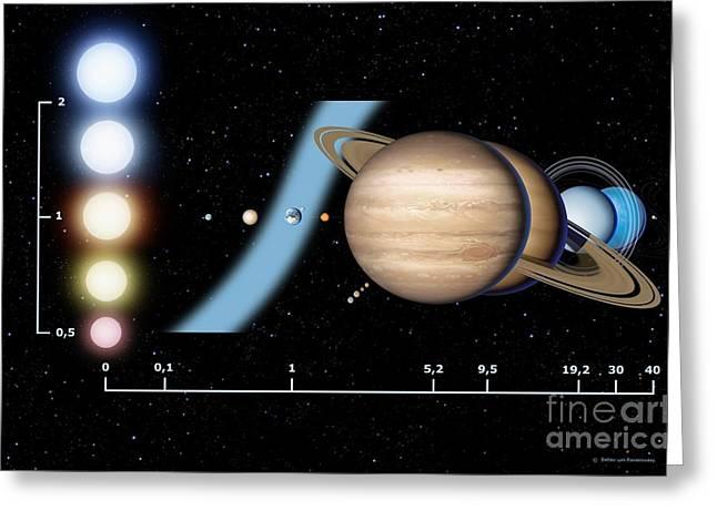Goldilocks Greeting Cards - Stellar Habitable Zone, Graph Greeting Card by Detlev van Ravenswaay