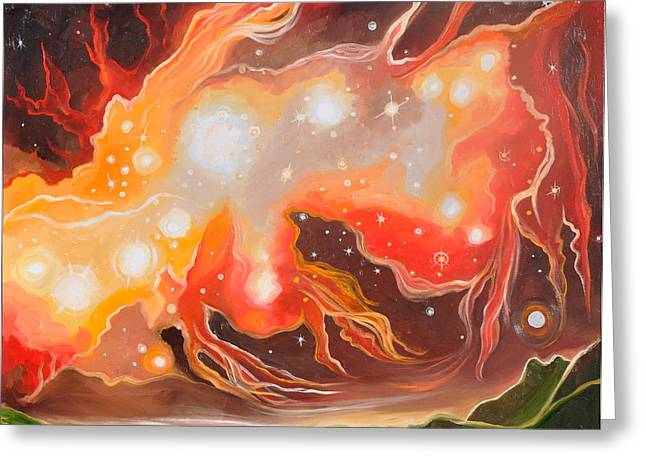 Outer Space Paintings Greeting Cards - Stellar Inferno Greeting Card by Cedar Lee