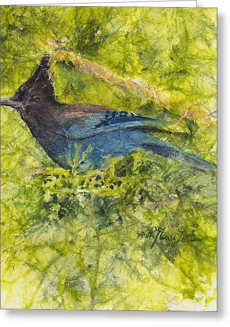Stellar Paintings Greeting Cards - Stellar Jay Greeting Card by Ruth Glenn Little