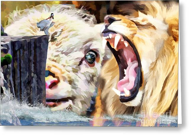 Lion Lamb Greeting Cards - Step out in Faith Greeting Card by Dolores Develde