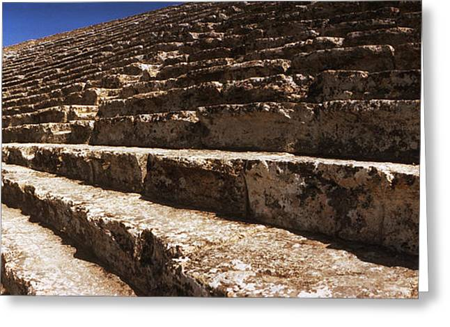 Civilization Greeting Cards - Steps Of The Theatre In The Ruins Greeting Card by Panoramic Images