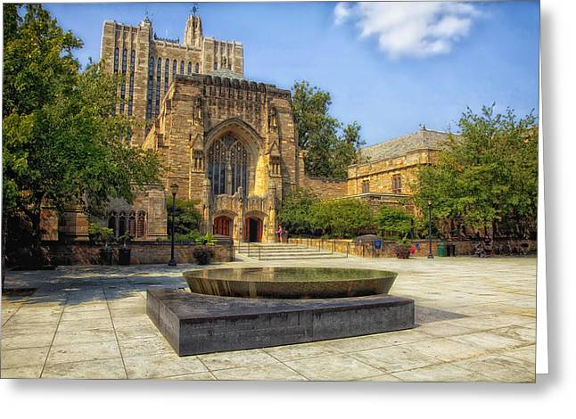 Sterling Memorial Library And The Women's Table - Yale University Greeting Card by Mountain Dreams
