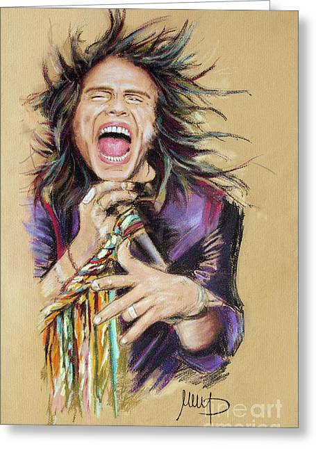 Celebrities Pastels Greeting Cards - Steven Tyler  Greeting Card by Melanie D