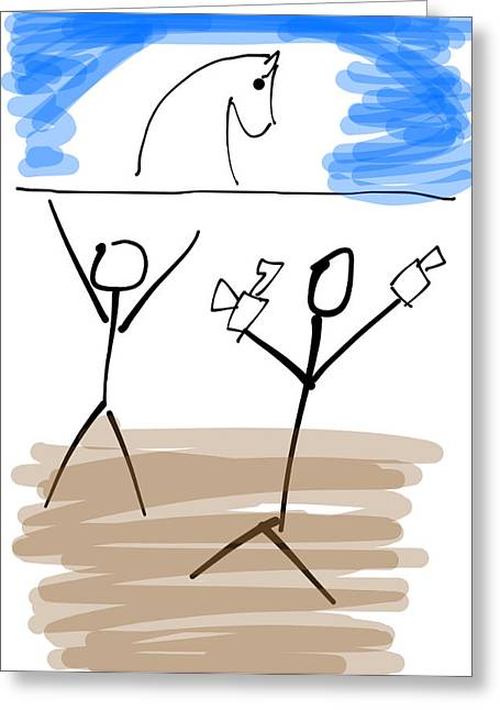 Stick Photographer 2 Greeting Card by Michael Schofield
