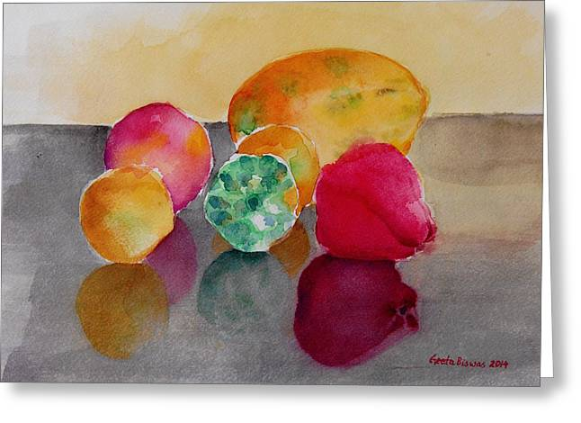 Glass Table Reflection Greeting Cards - Still life fruits Greeting Card by Geeta Biswas