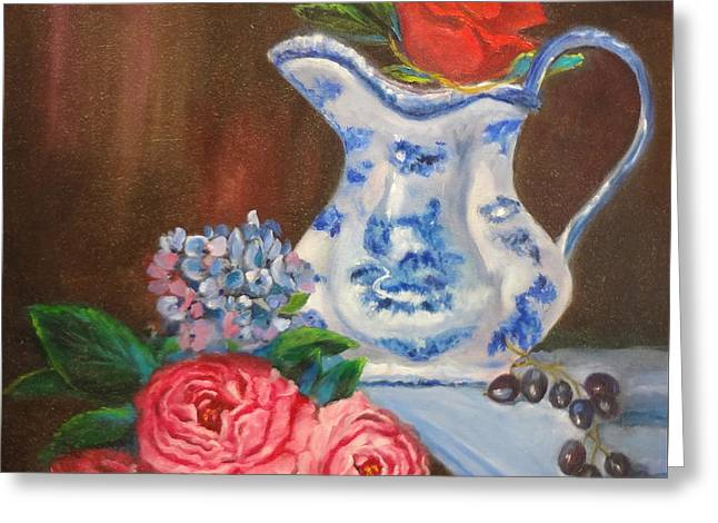 Ewer Paintings Greeting Cards - Still Life with Blue and White Pitcher Greeting Card by Jenny Lee
