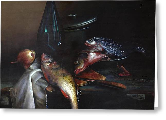 Still Life With Fish Greeting Card by Victor Mordasov