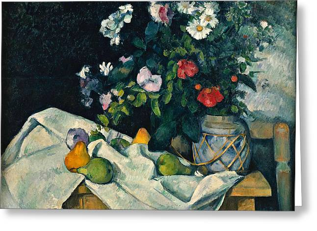 Vase With Figures Greeting Cards - Still Life with Flowers and Fruit Greeting Card by Paul Cezanne
