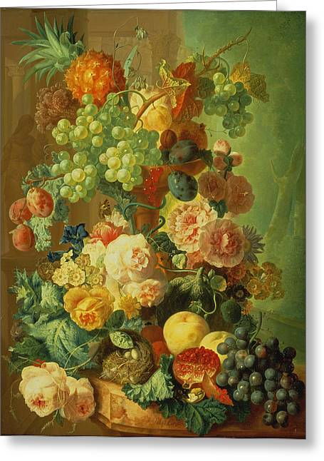 Melon Paintings Greeting Cards - Still Life With Fruit And Flowers Greeting Card by Jan van Os