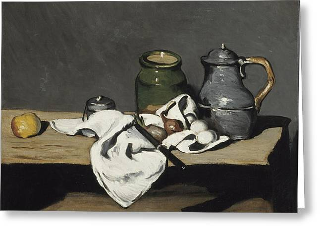 Vase With Figures Greeting Cards - Still life with kettle Greeting Card by Paul Cezanne