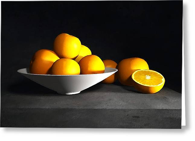 Still Life With Pears Greeting Cards - Still Life with Oranges Greeting Card by Cynthia Decker