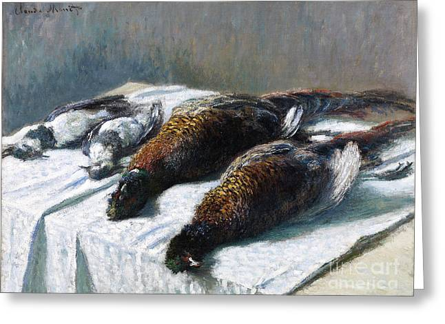 Vintage Painter Greeting Cards - Still Life with Pheasants and Plovers Greeting Card by Claude Monet