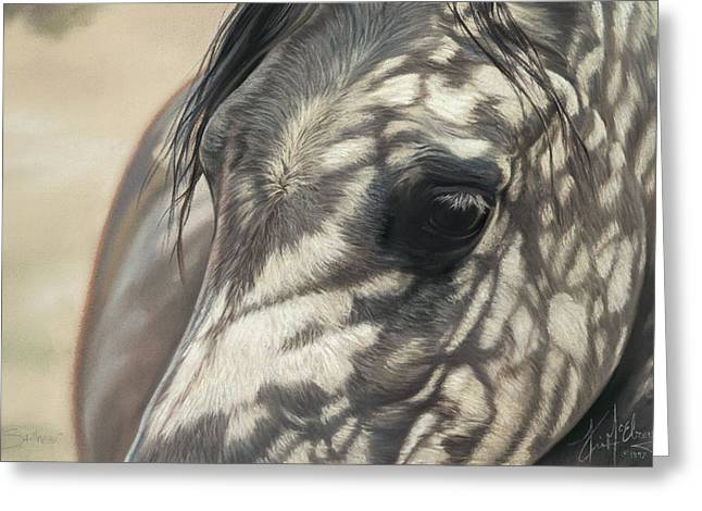 White Horse Pastels Greeting Cards - Stillness Greeting Card by Kim McElroy
