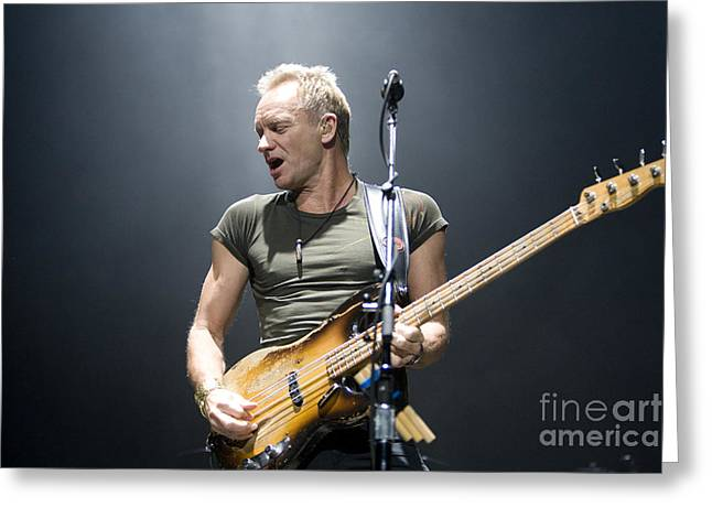 Guitar Stings Greeting Cards - Sting of The Police  Greeting Card by Jason O Watson