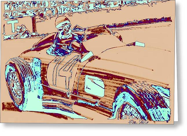 Stirling Moss Greeting Cards - Stirling Moss Mercedes Benz 1955 Grand Prix of Belgium Greeting Card by Paul Guyer