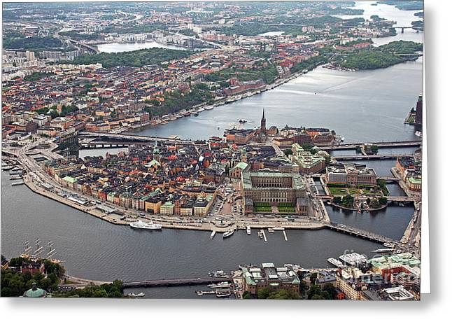 Areal Greeting Cards - Stockholm Aerial View Greeting Card by Lars Ruecker