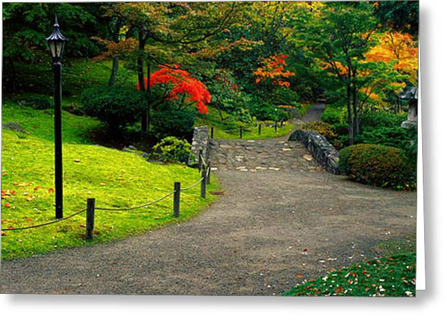 Green Foliage Photographs Greeting Cards - Stone Bridge, The Japanese Garden Greeting Card by Panoramic Images