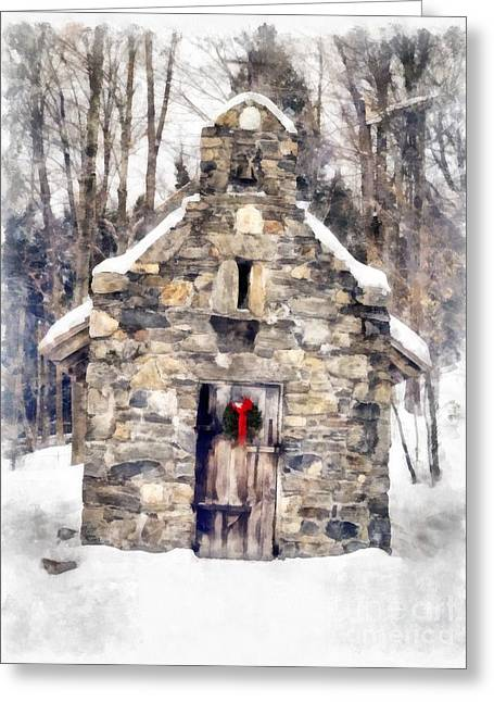 Stowe Greeting Cards - Stone Chapel in the Woods Trapp Family Lodge Stowe Vermont Greeting Card by Edward Fielding