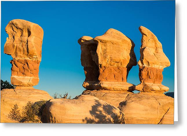 Holes In Sandstone Greeting Cards - Stone Faces Greeting Card by Michael Blanchette